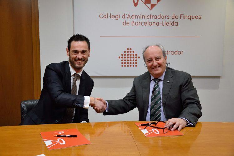 AparCar firma acuerdo de colaboración con el Col·legi d'Administradors de Finques de Barcelona i Lleida